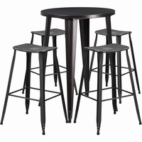 Flash Furniture 30'' Round Black-Antique Gold Metal Indoor-Outdoor Bar Table Set with 4 Distressed Backless Saddle Seat Barstools
