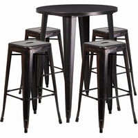 Flash Furniture 30'' Round Black-Antique Gold Metal Indoor-Outdoor Bar Table Set with 4 Square Seat Backless Barstools