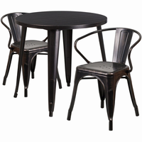 Flash Furniture 30'' Round Black-Antique Gold Metal Indoor-Outdoor Table Set with 2 Arm Chairs
