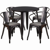 Flash Furniture 30'' Round Black-Antique Gold Metal Indoor-Outdoor Table Set with 4 Arm Chairs