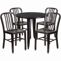 Flash Furniture 30'' Round Black-Antique Gold Metal Indoor-Outdoor Table Set with 4 Vertical Slat Back Chairs