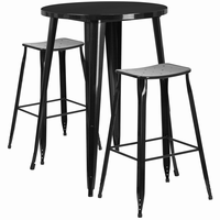 Flash Furniture 30'' Round Black Metal Indoor-Outdoor Bar Table Set with 2 Backless Saddle Seat Barstools