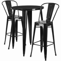 Flash Furniture 30'' Round Black Metal Indoor-Outdoor Bar Table Set with 2 Cafe Barstools