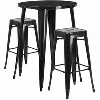 Flash Furniture 30'' Round Black Metal Indoor-Outdoor Bar Table Set with 2 Square Seat Backless Barstools