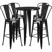 Flash Furniture 30'' Round Black Metal Indoor-Outdoor Bar Table Set with 4 Cafe Barstools