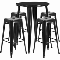 Flash Furniture 30'' Round Black Metal Indoor-Outdoor Bar Table Set with 4 Square Seat Backless Barstools