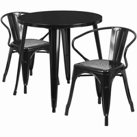Flash Furniture 30'' Round Black Metal Indoor-Outdoor Table Set with 2 Arm Chairs