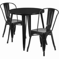 Flash Furniture 30'' Round Black Metal Indoor-Outdoor Table Set with 2 Cafe Chairs