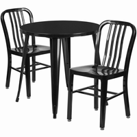 Flash Furniture 30'' Round Black Metal Indoor-Outdoor Table Set with 2 Vertical Slat Back Chairs