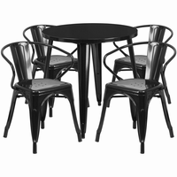 Flash Furniture 30'' Round Black Metal Indoor-Outdoor Table Set with 4 Arm Chairs