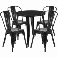 Flash Furniture 30'' Round Black Metal Indoor-Outdoor Table Set with 4 Cafe Chairs