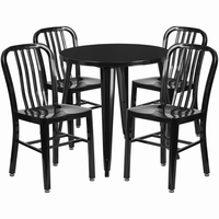 Flash Furniture 30'' Round Black Metal Indoor-Outdoor Table Set with 4 Vertical Slat Back Chairs