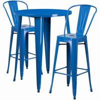 Flash Furniture 30'' Round Blue Metal Indoor-Outdoor Bar Table Set with 2 Cafe Barstools