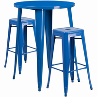Flash Furniture 30'' Round Blue Metal Indoor-Outdoor Bar Table Set with 2 Square Seat Backless Barstools