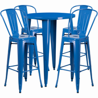 Flash Furniture 30'' Round Blue Metal Indoor-Outdoor Bar Table Set with 4 Cafe Barstools