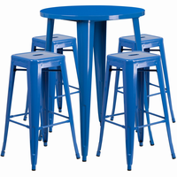 Flash Furniture 30'' Round Blue Metal Indoor-Outdoor Bar Table Set with 4 Square Seat Backless Barstools