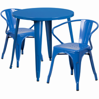 Flash Furniture 30'' Round Blue Metal Indoor-Outdoor Table Set with 2 Arm Chairs
