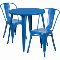 Flash Furniture 30'' Round Blue Metal Indoor-Outdoor Table Set with 2 Cafe Chairs