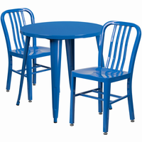 Flash Furniture 30'' Round Blue Metal Indoor-Outdoor Table Set with 2 Vertical Slat Back Chairs