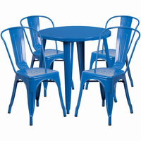 Flash Furniture 30'' Round Blue Metal Indoor-Outdoor Table Set with 4 Cafe Chairs