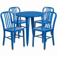 Flash Furniture 30'' Round Blue Metal Indoor-Outdoor Table Set with 4 Vertical Slat Back Chairs