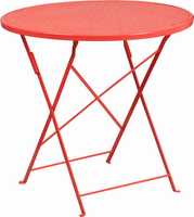Flash Furniture 30'' Round Coral Indoor-Outdoor Steel Folding Patio Table