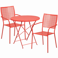 Flash Furniture 30'' Round Coral Indoor-Outdoor Steel Folding Patio Table Set with 2 Square Back Chairs