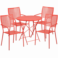 Flash Furniture 30'' Round Coral Indoor-Outdoor Steel Folding Patio Table Set with 4 Square Back Chairs