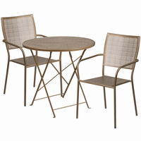 Flash Furniture 30'' Round Gold Indoor-Outdoor Steel Folding Patio Table Set with 2 Square Back Chairs