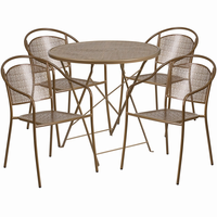 Flash Furniture 30'' Round Gold Indoor-Outdoor Steel Folding Patio Table Set with 4 Round Back Chairs
