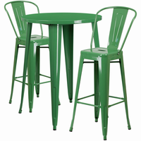 Flash Furniture 30'' Round Green Metal Indoor-Outdoor Bar Table Set with 2 Cafe Barstools