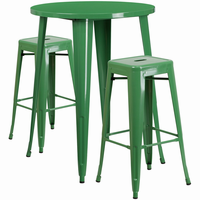 Flash Furniture 30'' Round Green Metal Indoor-Outdoor Bar Table Set with 2 Square Seat Backless Barstools