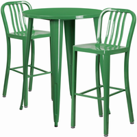 Flash Furniture 30'' Round Green Metal Indoor-Outdoor Bar Table Set with 2 Vertical Slat Back Barstools