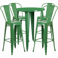 Flash Furniture 30'' Round Green Metal Indoor-Outdoor Bar Table Set with 4 Cafe Barstools