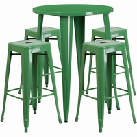 Flash Furniture 30'' Round Green Metal Indoor-Outdoor Bar Table Set with 4 Square Seat Backless Barstools