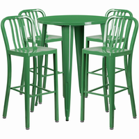 Flash Furniture 30'' Round Green Metal Indoor-Outdoor Bar Table Set with 4 Vertical Slat Back Barstools