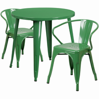 Flash Furniture 30'' Round Green Metal Indoor-Outdoor Table Set with 2 Arm Chairs