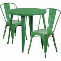Flash Furniture 30'' Round Green Metal Indoor-Outdoor Table Set with 2 Cafe Chairs