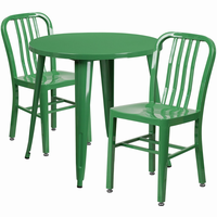Flash Furniture 30'' Round Green Metal Indoor-Outdoor Table Set with 2 Vertical Slat Back Chairs