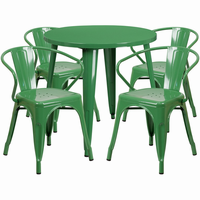 Flash Furniture 30'' Round Green Metal Indoor-Outdoor Table Set with 4 Arm Chairs