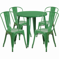 Flash Furniture 30'' Round Green Metal Indoor-Outdoor Table Set with 4 Cafe Chairs