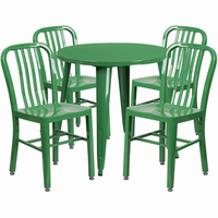 Flash Furniture 30'' Round Green Metal Indoor-Outdoor Table Set with 4 Vertical Slat Back Chairs