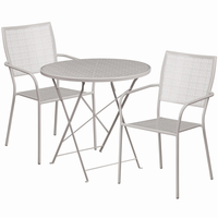 Flash Furniture 30'' Round Light Gray Indoor-Outdoor Steel Folding Patio Table Set with 2 Square Back Chairs