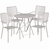 Flash Furniture 30'' Round Light Gray Indoor-Outdoor Steel Folding Patio Table Set with 4 Square Back Chairs