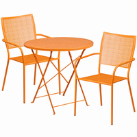 Flash Furniture 30'' Round Orange Indoor-Outdoor Steel Folding Patio Table Set with 2 Square Back Chairs