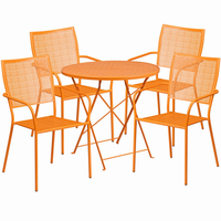 Flash Furniture 30'' Round Orange Indoor-Outdoor Steel Folding Patio Table Set with 4 Square Back Chairs
