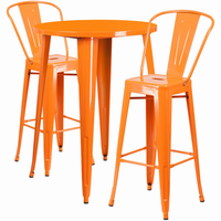 Flash Furniture 30'' Round Orange Metal Indoor-Outdoor Bar Table Set with 2 Cafe Barstools
