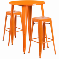 Flash Furniture 30'' Round Orange Metal Indoor-Outdoor Bar Table Set with 2 Square Seat Backless Barstools