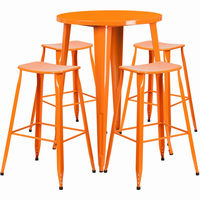 Flash Furniture 30'' Round Orange Metal Indoor-Outdoor Bar Table Set with 4 Backless Saddle Seat Barstools