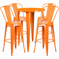 Flash Furniture 30'' Round Orange Metal Indoor-Outdoor Bar Table Set with 4 Cafe Barstools